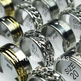 Wholesale Stainless Steel Channel Ring Wholesale - 30pcs Silver Gold Stainless Steel Rhinestones Women Mens Fashion Spin Chain Rings Wholesale Jewelry Lots A-148