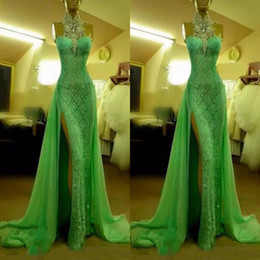 Wholesale Diamond Evening Gowns - 2017 Emerald Green Evening Dresses High Neck with Crystal Diamond Arabic Evening Gowns Long Lace Side Slit Dubai Prom Dress
