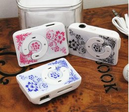 Wholesale Porcelain Markings - Wholesale- MP3 Player Hot marking Flower blue and white porcelain MP3 Music Player with TF Card Slot for leisure