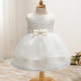 Wholesale Toddler Birthday Clothes - Newborn Girl Dress Beautiful Christening Gown White First Birthday Party Baby Chiffon Clothing Tutu Tulle Toddler Girl Clothes