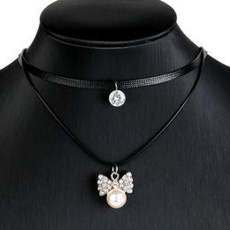 Wholesale Dimond Necklaces - The European and American Gothic Women's Fashion Pearl Dimond Pendant Choker Combination Suit