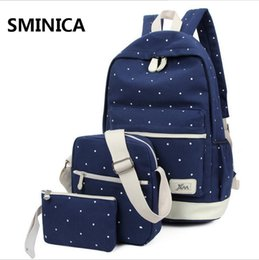 Wholesale Doctor Dot - WholeTide- Pop Fresh Fashion Dot Printing Brand Backpacks Students School Bags Women Backpacks High Quality Double Shoulder Canvas Backpack