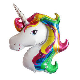 Wholesale Wholesalers Imports - 116*87cm Anagram Rainbow Unicorn Foil Balloons America Imported Cartoon Animal Balloon Helium Float Ball Kid's Toy Gift