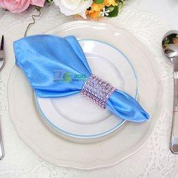 Wholesale Wholesale Bling Napkin Holders - Wholesale- Rhinestone 8 Row Wedding Mesh Bling Napkin Ring Party Sash Holder Decoration handkerchief ring 5 Colors#ifa
