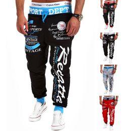 Wholesale Men Pants Laces - Wholesale- 2017 New Men'S Casual Letters Loose Sweatpants Spell Color Printed Lace Trousers Joggers Men'S Pants XXXL