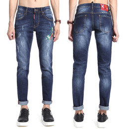 Wholesale Flower Skinny Jeans - Wholesale Jeans Floral Embroidery Skinny Fit Jeans Mens Embroideried Flower Effect Patchwork Fashion Denim Pants Famous Brand