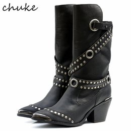 Wholesale Spiked Boots For Women - New Arrive Top Grade Euramerican Thick Heels Shoes Rivet Buckle Metal Point Toe Comfortable Mid-Calf Boots For Women