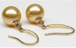 Wholesale Southsea Shell Pearl Silver - 12mm charm southsea yellow shell pearl earring gold plated on 925 silver