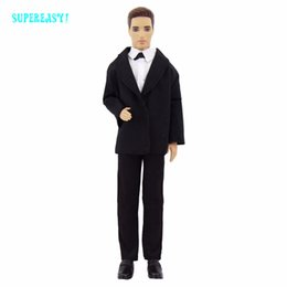 Wholesale Tuxedo Suits For Girls - Handmade Tuxedo Business Men's Wear Fashion Modern Formal Suit Black Coat White Shirt Clothes For Barbie Ken Doll Accessories To