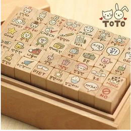 Wholesale Toto Wholesalers - Wholesale- 40pcs set NEW cute toto cat and rabbit stamp gift set wooden box multi-purpose Decorative DIY funny work Wholesale