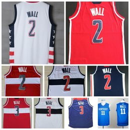 Wholesale Mixed Basketball Jersey - Cheap Mens 2 John Wall Jersey New Red Blue White Home Away 3 Bradley Beal 13 Marcin Gortat Basketball Jerseys Shirt Mix Order