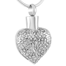 Wholesale Planting Wild Flowers - IJD9300 Wild Flowers In Heart Memorial Cremation jewelry Ashes Pendants 316L Stainless Steel Keepsake Urn Necklace