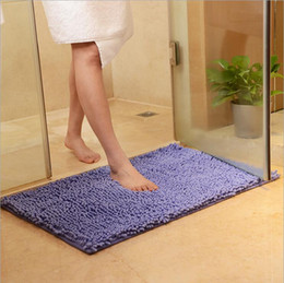 Wholesale Cheap Mats - Cheap 10 Colors Bath Mat For Kitchen Toliet Super Soft Non-Slip Bathroom Carpet Absorbent 38*58cm Bath Rug Bedroom Rug Rectangle Carpet