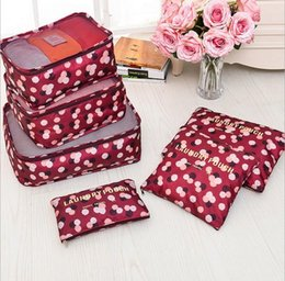 Wholesale Nylon Luggage Sets - 6Pcs set Travel Bags Waterproof Travel Package Travel Luggage Clothing Underwear Finishing Suitcases Storage Bags Allow Mix Colors