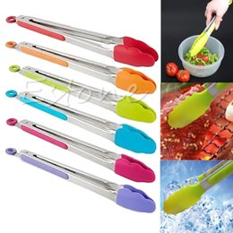 Wholesale Bbq Salads - Silicone Kitchen Cooking Salad Serving BBQ Tongs Stainless Steel Handle Utensil random color