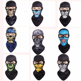 Wholesale Face Bandanas - Skull Masks Breathable Tactical Headgear Soft Bandanas CS Mask Outdoor Sports Cap Bicycle Cycling Fishing Motorcycle Masks Full Face Mask