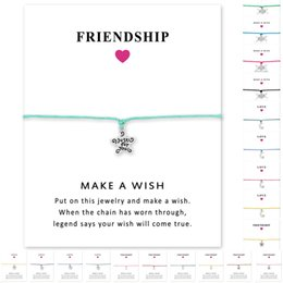 Wholesale Just Star Wholesale - (10 pcs lot) Silver Tone Stars Just For You Charm Bracelets & Bangles For Women Girls Adjustable Friendship Statement Jewelry With Card