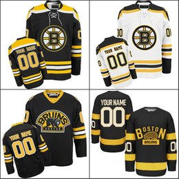 Wholesale Icing Logos - Customized Men's Boston Bruins Jerseys Custom Hockey Jerseys Ice Personalized Any Name Any Number Embroidery Logos S-4XL