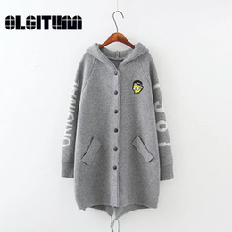 Wholesale Thick Warm Poncho Coats - Wholesale- OLGITUM 2017 new Cardigan Sweater loose coat Cartoon embroidery hooded knitted sweatersfor Wome Fall Warm Thick Poncho Jacket