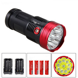 Wholesale Cree Skyray Led - SKYRAY Superbright 15000LM 10x CREE XM-L T6 LED Flashlight Torch Light including 4*18650 Battery + 2*Charger Free Shipping