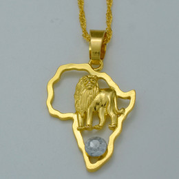 Wholesale 24k Gold Earrings For Women - NEW Africa Map Necklaces for Women 24K Gold Plated African Map and African Lion Pendant Necklace Ethiopian Jewelry 2016 #014706
