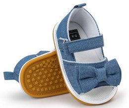 Wholesale Child Moccasins - New designs back strip Denim Cute Bowtie Fabric Baby moccasins child Summer girls sandals kids shoes,toddlers bow sandals bootie,5 colours