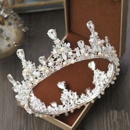 Wholesale Vintage Rhinestone Tiara Heart - 2017 New Baroque Vintage crowns tiaras beaded crown for wedding bride Bridal Luxury Shiny Rhinestone Crystal Hair accessories Free Shipping