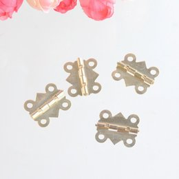 Wholesale Hinge Furniture Hardware - Wholesale- Free Shipping 25pcs Gold Tone Hardware 4 Holes DIY Furniture Accessorie Box Butt Door Hinges (Not Including Screws)20x17mm F0954