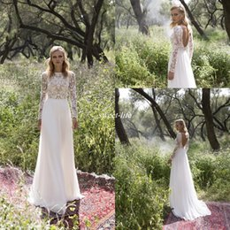 Wholesale Wedding Dresses Embellished Back - Long Sleeve Country Wedding Dresses 2017 New Sexy Scoop Back Bateau Neckline Heavily Embellished Bodice Lace A line Tulle Skirt Bridal Gowns