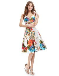 Wholesale Double V Cocktail Dress - Empire V Neck Cocktail Dresses Ever Pretty 2017 New Girl's Double V-neck Floral Print Satin Summer Dress Cocktail Dresses