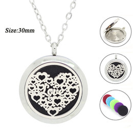 Wholesale Chains For Floating Lockets - New arrival! 30mm magnetic perfume locket for lovers 316L stainless steel oil diffuser necklace floating aromatherapy pendant