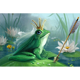 Wholesale Frog Decorations - Frog Prince DIY Diamond Painting Embroidery 5D Beauty Cross Stitch Crystal Square Unfinish Home Bedroom Wall Art Decor Craft Gift