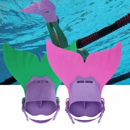 Wholesale Wholesale Dive Gear - Mermaid Fins Fun Flipper Tail Monofin Mermaid Fin Swimmable Mermaid Tail Fin Diving Swimming Gear Flipper For Kids 3 Colors OOA1945
