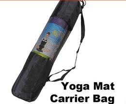 Colore nero online-2017 zaino di yoga di nylon del centro della maglia del trasportatore del sacchetto della stuoia di yoga della borsa di yoga di nylon 200pcs colore nero DHL Fedex Trasporto libero
