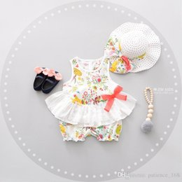 Wholesale Korean Style Shirt New Kids - 4 color 2017 Korean style Summer new fashion new arrivals kids cute flower printed lace T-shirt vest+ Lovely shorts +hat three pieces cotton