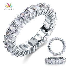 Wholesale Peacock Rings - Peacock Star Oval Cut Eternity Solid Sterling 925 Silver Wedding Ring Band Jewelry Created Diamond CFR8069