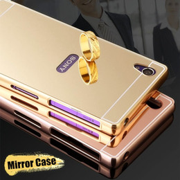 Wholesale Metal Mirror Compacts - Mirror Case For Sony Z Z4 Aluminum Bumper Frame For Sony Xperia Z1 Z2 Z3 Z3 Compact Z5 Z5 Compact Acrylic Back Cover
