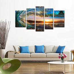Wholesale Abstract Waves Painted Walls - 5 Pieces Rolling Wave Picture Seascape Canvas Painting Wall Art Picture Print Giclee Artwork with Wooden Framed Ready to Hang for Home Decor