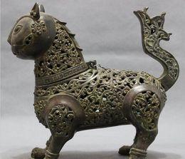 Wholesale Antique Chinese Bronze Incense Burner - Folk Chinese Bronze Animals Cat Head Statue Buddhism Incense Burner Censer