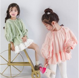 Wholesale Three Quarter Loose Sleeve Blouse - Kids blouses fashion girls cotton linen loose T-shirt children lantern sleeve princess tops 2017 new girl autumn cotton clothing T5028