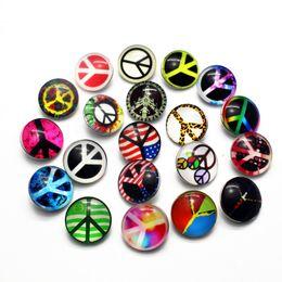 Wholesale fit symbol - Newest 20pcs lot Peace Symbol Snap Button Jewelry Substitutable Glass Snap Buttons fit 18mm Snap Bracelet Bangles