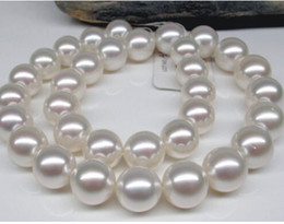 """Wholesale Real Gold White Pearl Necklace - Fine Pearls Jewelry AAAA Luster 18""""11-12mm rare natural real South sea white pearl necklace 14K"""
