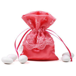 Wholesale Brocade Wedding - 20pcs Garden brocade Lace Fabric Drawstring bags Gift package bags Natural Drawstring Reusable candy gift bag packaging wedding favor box