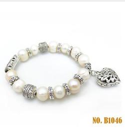 Wholesale Strands Black Pearls 9mm - White natural Freshwater pearl bracelet 8-9mm for women adjustable 925 sterling silver bracelet girl wedding bridal birth day gift