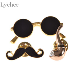Wholesale Mustache Gold - Wholesale- Lychee 3 pieces set Cartoon Brooch Pin Sunglasses Mustache Pipe Alloy Shirt Lapel Pin Collar Pin for Women Jewelry
