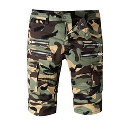 Wholesale Camouflage Pants For Men Skinny - Hip Hop Jeans Men's summer camouflage zippers pleated biker jeans for moto Casual pockets cargo pants Denim knee length shorts