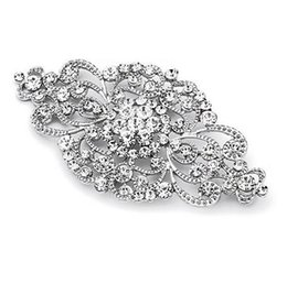 Wholesale Glam Alloy - 2 Inch Vintage Style Rhinestone Crystal Floral Gorgeous Brooch Wedding and Fashion Glam Both Silver and Rose Gold Available