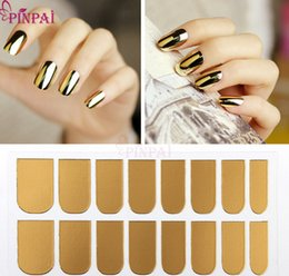 Wholesale Elegant Nail Tips - A3 F119 Hot Sale 10 Color Metal Nail Stickers Manicure Nail Polish Decals Stickers Elegant Style 16PCS sheet Full Nail Tips