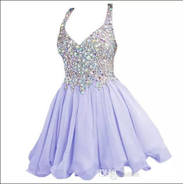 Wholesale Homecoming Prom Dresses Stones - 2017 New Scoop Neck Lavender Light Blue Chiffon A Line Short Homecoming Dresses Stones Beaded Top Mini Party Short Cocktail Prom Dresses