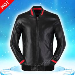 Wholesale Motorcycle Jacket Men Leather Slim - New Fashion Design Embroidery Unisex Bomber Jacket Medusa 2016 Mens PU Leather Motorcycle Pilot Jackets M--3XL